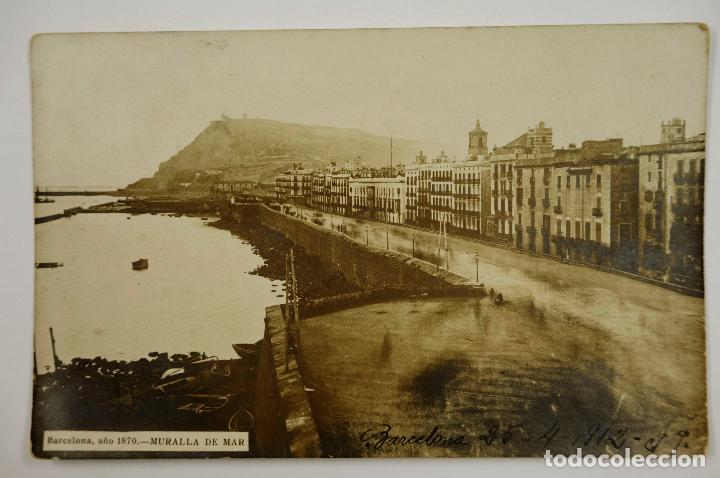BARCELONA, 1870. MURALLA DE MAR. POSTAL FOTOGRÁFICA (Postales - España - Cataluña Antigua (hasta 1939))