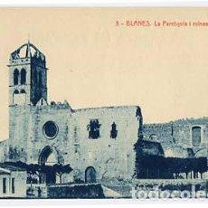 Postales: GIRONA BLANES LA PARROQUIA I RUINES DEL PALAU. FOTOTIPIA THOMAS. SIN CIRCULAR. Lote 108117531