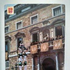 Postales: POSTAL BARCELONA PLAZA SANT JAUME CASTELLERS, ESCUDO DE ORO Nº 316, PALACIO DE LA DIPUTACIÓN. Lote 108694383