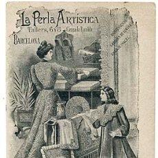 Postales: BARCELONA PUBLICIDAD COMERCIO ENCAJES, BORDADOS LA PERLA ARTISTICA CALLE TALLERS REVERSO SIN DIVIDIR. Lote 108957959