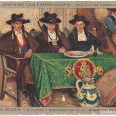 Postales: POSTAL PROPAGANDA CONFITERIA LA GLORIA BARCELON 1910 OFERTORIO EN EXTREMADURA DE CARLOS VAZQUEZ. Lote 109161207