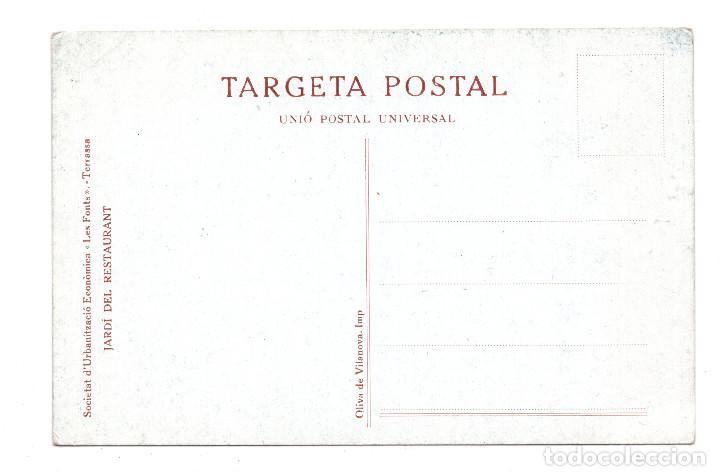 Postales: BARCELONA.- TERRASSA.- SOCIETAT D´URBANITZACION ECONOMICA LES FONT. JARDÍ DEL RESTAURANT - Foto 2 - 109579615