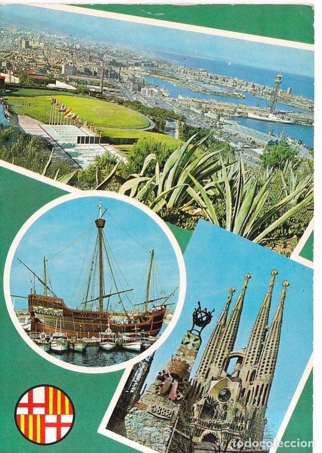BARCELONA VISTAS VARIAS POSTAL CIRCULADA (Postales - España - Cataluña Moderna (desde 1940))