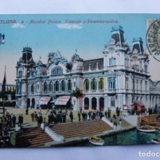 Postales: POSTAL BARCELONA - MUNDIAL PALACE, ESTACIÓN Y DESEMBARCADERO - ED. JORGE VENINI - CON SELLO NO CIRCU. Lote 109841455