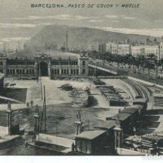 Postales: BARCELONA-TREN ENTRANDO EN EL PUERTO - -1915-MB-RARA. Lote 110004051