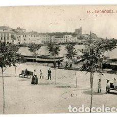 Postales: GIRONA CADAQUES LA PLATJA FOTOTIPIA THOMAS. CIRCULADA. Lote 110543051