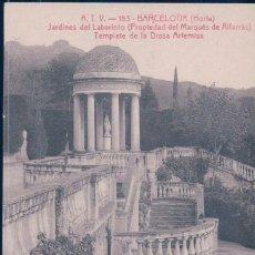 Postales: POSTAL A.T.V 183 BARCELONA - HORTA - JARDINES DEL LABERINTO - TEMPLETE DE LA DIOSA ARTEMISA - TOLDRA. Lote 112636219