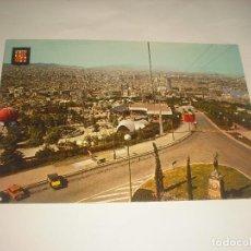 Postales: BARCELONA 106 . DETALLE DEL TELEFERICO Y PARQUE DE ATRACCIONES DE MONTJUICH. Lote 112995999