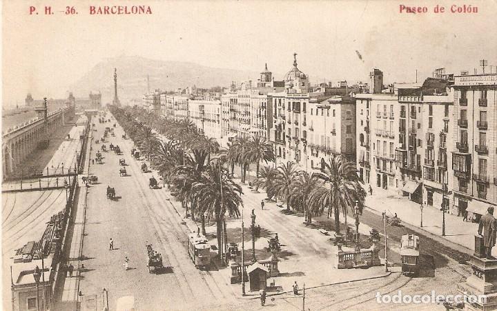 BARCELONA 36 PASEO DE COLÓN MADRIGUERA CIRCULADA 1909 (Postales - España - Cataluña Antigua (hasta 1939))