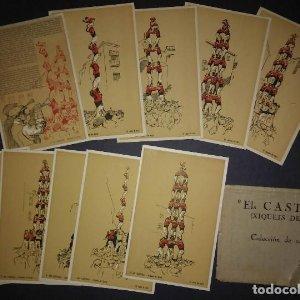 Coleccion completa 10 postales ELS CASTELLS Xiquets de valls 1946