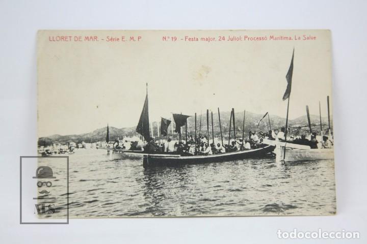 ANTIGUA POSTAL -LLORET DE MAR Nº 19/FESTA MAJOR, 24 JULIOL. PROCESSÓ MARÍTIMA -ED. THOMAS - AÑO 1916 (Postales - España - Cataluña Antigua (hasta 1939))