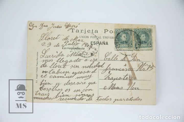 Postales: Antigua Postal - Lloret De Mar Nº 1136 / Paseo Del Mar - Ed. Angel Toldrá - Año 1917 - Foto 2 - 114957935