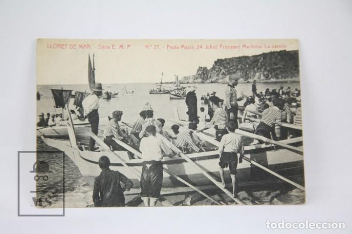 ANTIGUA POSTAL - LLORET DE MAR Nº 27, FESTA MAJOR 24 JULIOL LA VARADA / GIRONA -ED. THOMAS- AÑO 1914 (Postales - España - Cataluña Antigua (hasta 1939))
