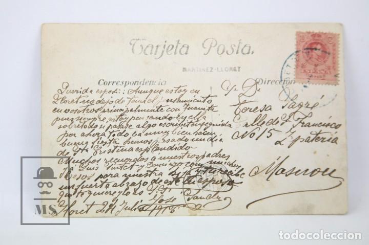 Postales: Antigua Postal Fotagráfica - Lloret De Mar, Festa major 24 Juliol / Girona - Ed. Martínez - Año 1916 - Foto 2 - 114962279