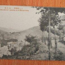 Cartes Postales: RIBAS (GIRONA): VISTA PARCIAL I PASSEIG DE LA MARGARIDETA (NCLL NUM.2). Lote 232338350