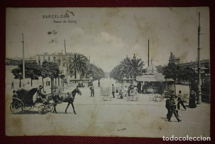 1909 PASEO COLON BARCELONA POSTAL CIRCULADA ENVIADA A PAMPLONA (Postales - España - Cataluña Antigua (hasta 1939))