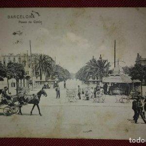1909 Paseo colon Barcelona Postal circulada enviada a Pamplona