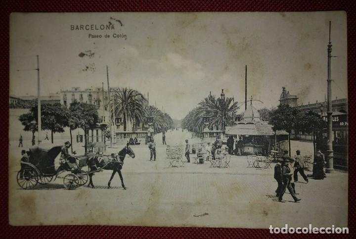 Postales: 1909 Paseo colon Barcelona Postal circulada enviada a Pamplona - Foto 2 - 118031723