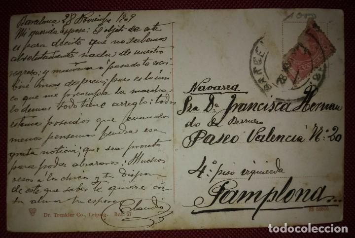 Postales: 1909 Paseo colon Barcelona Postal circulada enviada a Pamplona - Foto 3 - 118031723