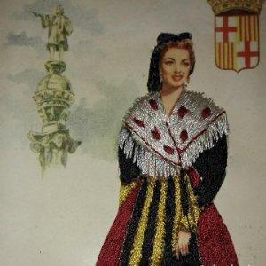 BARCELONA Postal bordada con hilo traje típico BARCELONA CATALUNYA CATALUÑA