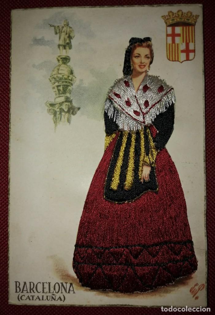 Postales: BARCELONA Postal bordada con hilo traje típico BARCELONA CATALUNYA CATALUÑA - Foto 2 - 118034187