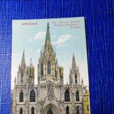 Postales: ANTIGUA POSTAL DE BARCELONA.CATEDRAL BASÍLICA FACHADA PRINCIPAL Y CIMBORORIO. J. VENINI.ESPERANTO. . Lote 119099239