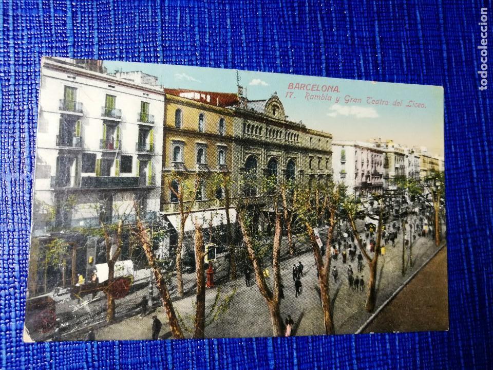 ANTIGUA POSTAL DE BARCELONA. RAMBLA Y GRAN TEATRO DEL LICEO. J. VENINI.ESPERANTO. (Postales - España - Cataluña Antigua (hasta 1939))