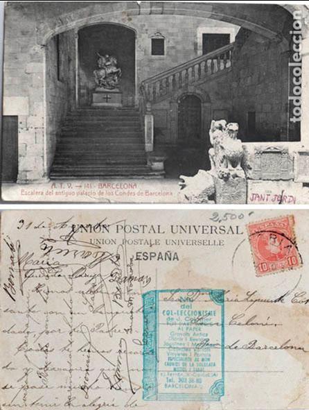 POSTAL A.T.V. BARCELONA ESCALERA DEL ANTIGUO PALACIO DE LOS CONDES DE BARCELONA ATV (Postales - España - Cataluña Antigua (hasta 1939))