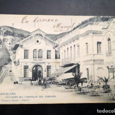 Postales: POSTAL SXIX BARCELONA ESTACIÓN DEL FUNICULAR DEL TIBIDABO HAUSER Y MENET 1146 CIRCULADA Y INSCRITA. Lote 121098827