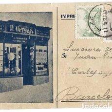 Postales: LERIDA ( COMERCIO DE PAPELERIA Y LIBRERIA DE R. URRIZA ) CIRCULADA. Lote 125848491