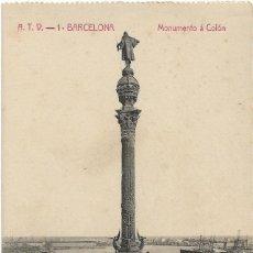 Postales: BARCELONA .- MONUMENTO A COLON .- EDICION A.T.V. Nº 1 .- S/C. Lote 126104575