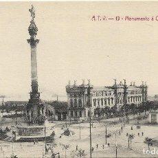 Postales: BARCELONA .- MONUMENTO A COLON Y ADUANA .- EDICION A.T.V. Nº 19 S/C. Lote 126104699