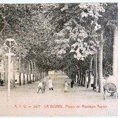Postales: A.T.V. 2417 LA BISBAL, PASEO DE MARIMON ASPRER , ANTIGUA TARJETA POSTAL, CIRCULADA 1911. Lote 128334911