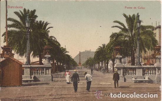 BARCELONA - PASEO DE COLÓN - CIRCULADA - 1909 (Postales - España - Cataluña Antigua (hasta 1939))