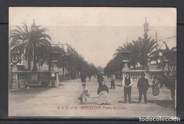 POSTAL DE BARCELONA CIRCULADA EN EL AÑO 1909 (PASEO DE COLON) (Postales - España - Cataluña Antigua (hasta 1939))