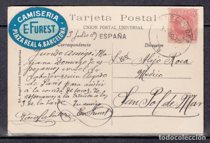 Postales: POSTAL DE BARCELONA CIRCULADA EN EL AÑO 1909 (PASEO DE COLON) - Foto 2 - 132538978