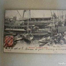 Postales: TARJETA POSTAL BARCELONA ESCALERA DE LA. PAZ. SIN DIVIDIR. CIRCULADA 1905. Lote 132815346