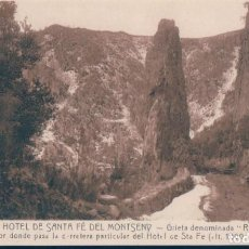 Postales: POSTAL GRAN HOTEL DE SANTA FE DEL MONTSENY - GRIETA DENOMINADA ROC RAMON - ROISIN. Lote 134166338
