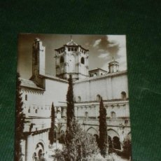 Postales: POBLET CIMBORIO DESDE EL JARDIN DEL CLAUTRO - CLISE PLASENCIA LAB.CALAFELL 1958. Lote 136299918
