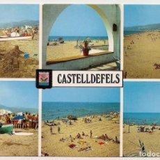 Postales: CASTELLDEFELS - BARCELONA - DIVERSOS ASPECTOS - Nº4 ESCUDO DE ORO - ESCRITA . Lote 136357426