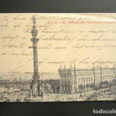 Postales: POSTAL BARCELONA. MONUMENTO A COLÓN Y ADUANA. PRIMERA EDICIÓN. CIRCULADA. AÑO 1906. . Lote 138096178