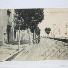 Postales: ANTIGUA POSTAL - MASNOU, CALLE SAN ANTONIO - EDIT. THOMAS - AÑO 1919 - CIRCULADA. Lote 139382546