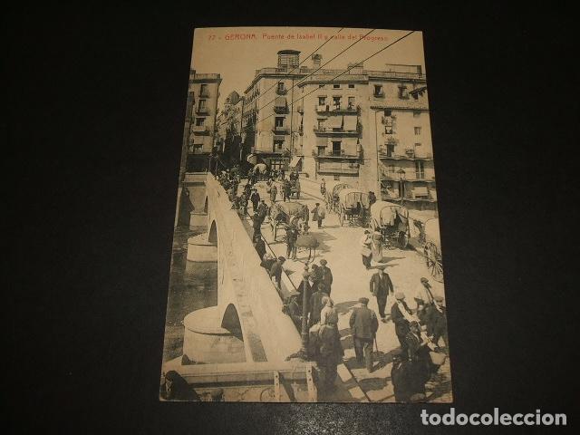 GERONA PUENTE DE ISABEL II Y CALLE DEL PROGRESO (Postales - España - Cataluña Antigua (hasta 1939))