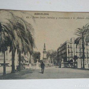Paseo Colón (detalle) y monumento a D. Antonio Lopez Barcelona