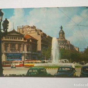Barcelona Surtidor y Paseo de Gracia postal a color