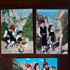 Postales: 3 POSTALES TRAJES REGIONALES CATALUÑA SANTUARIO MONTSERRAT NIÑOS COLECCIÓN PERLA NUEVO. Lote 145066632