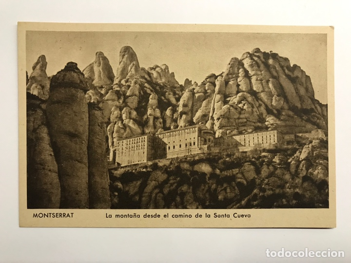 MONTSERRAT (BARCELONA) POSTAL. LA MONTAÑA DESDE LA SANTA CUEVA EDITA : HUECOGRABADO RIEUSSET (Postales - España - Cataluña Antigua (hasta 1939))