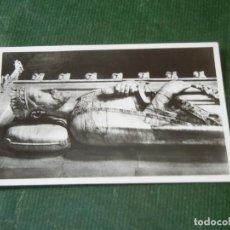 Postales: MONASTERIO DE POBLET - PANTEONES REALES - ESTATUA REY JAIME I DETALLE - FOTO R.CUADRADA. Lote 143036786