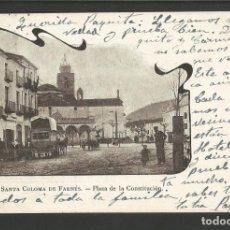 Postales: SANTA COLOMA DE FARNES-PLAZA LA CONSTITUCION-268 A.MAURI-REVERSO SIN DIVIDIR-POSTAL ANTIGA-(55.212). Lote 143491614