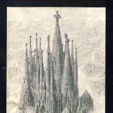 Postales: POSTAL DE BARCELONA: VISIÓ DE LA SAGRADA FAMILIA, DIBUIX DE FRANCISCO VALL (ZERKOWITZ). Lote 143655374
